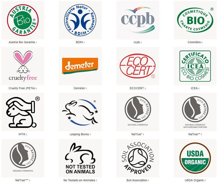 Certificados de cosmética natural