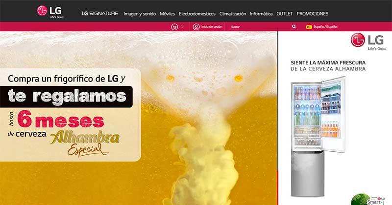 LG regala cervezas Alhambra por comprar un frigorífico